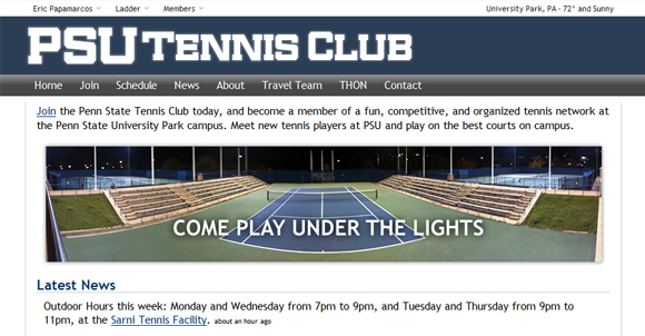 Tennis Club Website Home Page