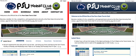 Tennis Club Website Old Home Page