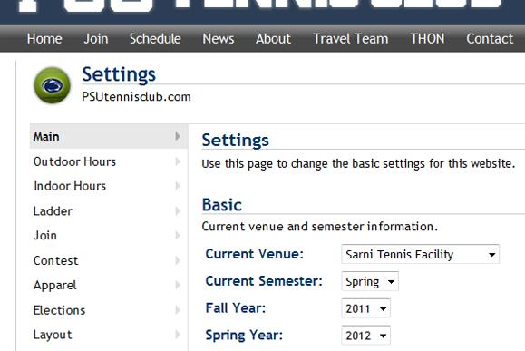 Tennis Club Website Admin Settings
